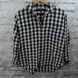 Madewell Oversized Hi Low Flannel Gingham Top